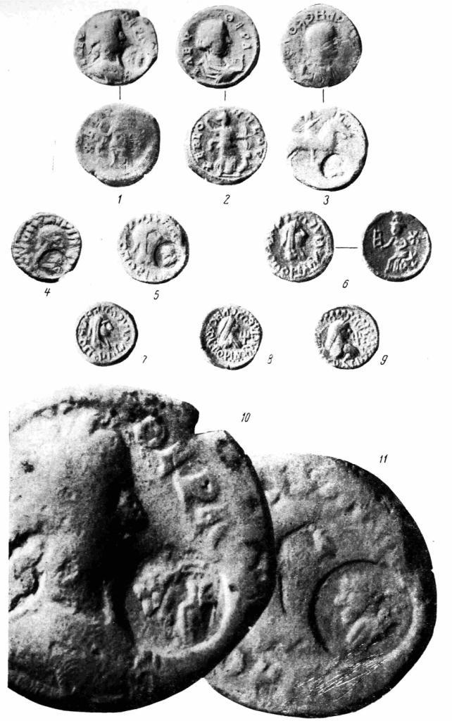 Рис. 72. Боспорские и херсонесские монеты III в. н. э. 1, 2 — херсонесские монеты; 3 — боспорская, Рискупорида III; 4—9 — Рискупорида V (4—6 — медные; 7 — биллоновый статер, 250 г.; 8, 9 — статеры, 263 и 265 гг.); 70, 77 — увеличение монет 1 и 5 в четыре раза.