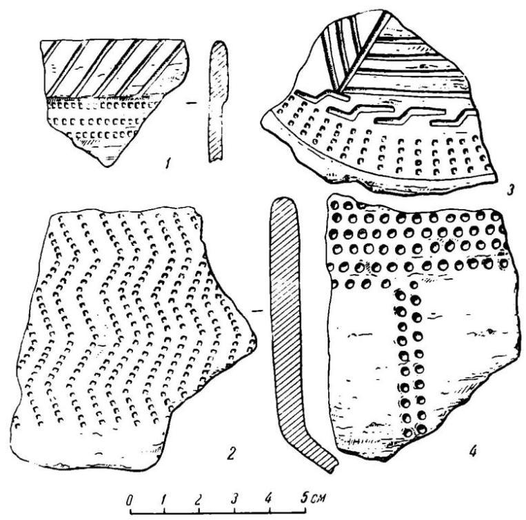 Рис. 61. Фрагменты керамики, найденные на береговой отмели у хут. Малой Лучки.