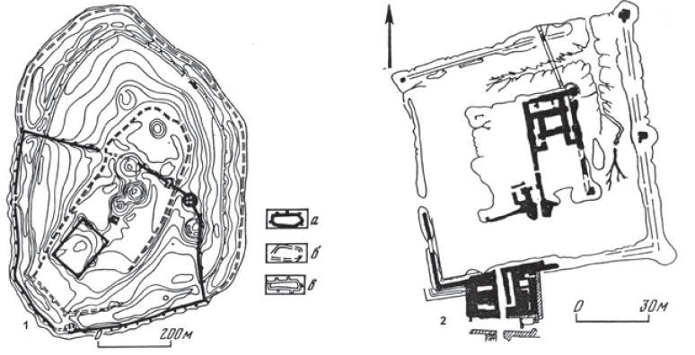 Рис. 4.29. Чирикрабатская культура. Планы городищ: 1 — городище Чирик-Рабат; 2 — городище Бабиш-Мулла 1, цитадель (по С.П. Толстову)