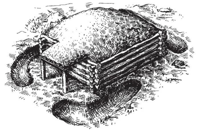 Рис. 28. Реконструкция кургана № 162а из могильника XI—XII вв. оюло д. Залахтовье на берегу Чудского озера.