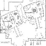 Рис. 13. План расположения жилищ на городище Чудаки. 1 — ямки от столбов; 2 - ямки у входа; 3 — кострища и пятна прокопченного грунта; 4 — ямы в грунте; 5 — ямы около очагов.