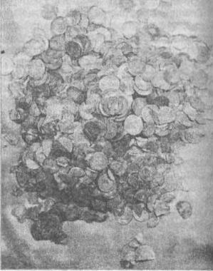 Рис. 65. Клад арабского серебра второй половины IX в., найденный на Тимерсвском поселении