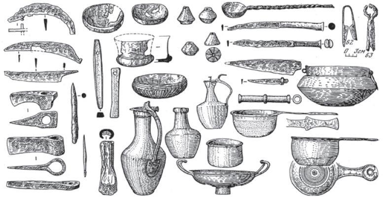 Рис. 4.52. Котлы, металлическая посуда, орудия труда позднесарматской культуры. II—IV вв. н. э.