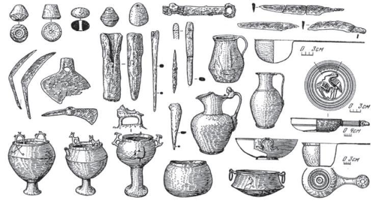 Рис. 4.51. Котлы, металлическая посуда, орудия труда среднесарматской культуры. II в. до н. э.—II в. н. э.