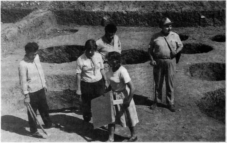 Рис. 1. Сержень-Юрт. Раскопки поселения. 1965 г.