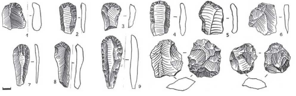 Рис. 2.4. Палеолитическая стоянка им.Ч. Валиханова. Каменные орудия труда