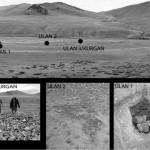 Рис 1. Вверху: погребальный комплекс Уландрык II. Участки, где проводились измерения, отмечены черными точками. Внизу: три места, где были установлены температурные датчики