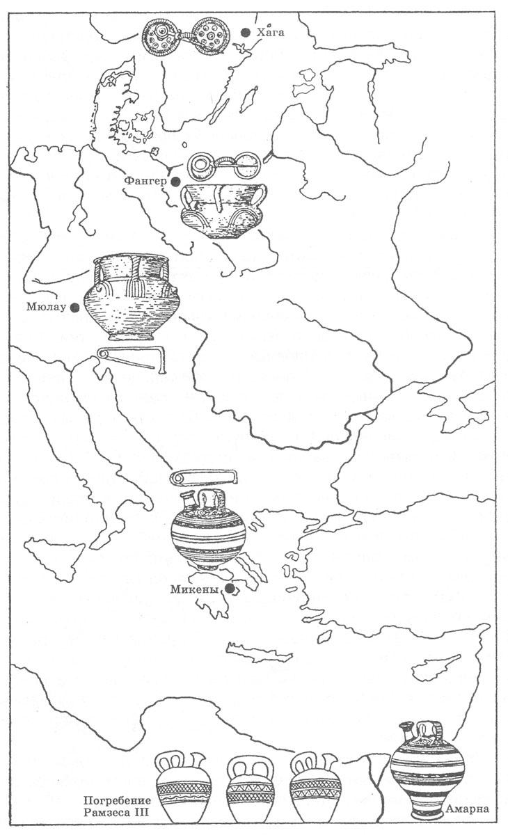Рис. 7. Датировка памятников бронзового века по продвижению импортных вещей [Eggers H. J., 1959].