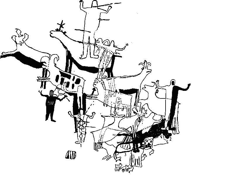Рис. 38. Фрагмент росписи из грота Дель-Ратон, п-ов Калифорния. Для этих фигур получены прямые радиоуглеродные даты