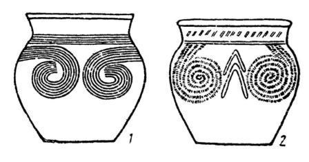 Рис. 46. Псевдоаналогии: 1 - Уганда, ранний железный век; 2 — южнорусские степи, катакомбная культура
