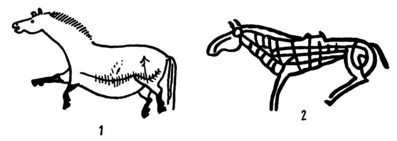 Рис. 43. Изображение лошади в разных художествен¬ных традициях: 1 — палеолит (Ляско); 2 — скифо-сибирский звериный стиль (Енисей)