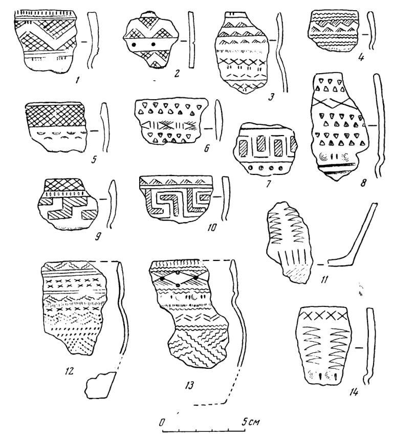 Рис. 28. Керамика Десятовского поселения. 1—14 — вторая группа