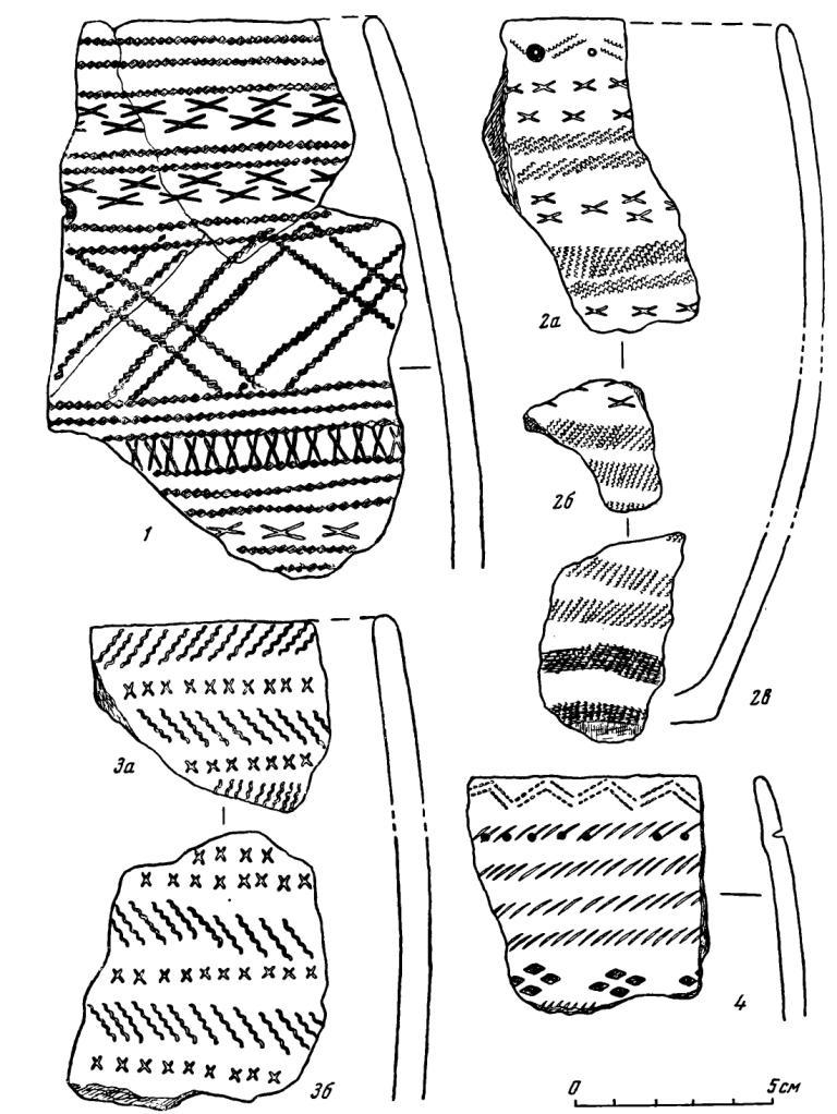 Рис. 29. Керамика Десятовского поселения. 1—4 — третья труппа