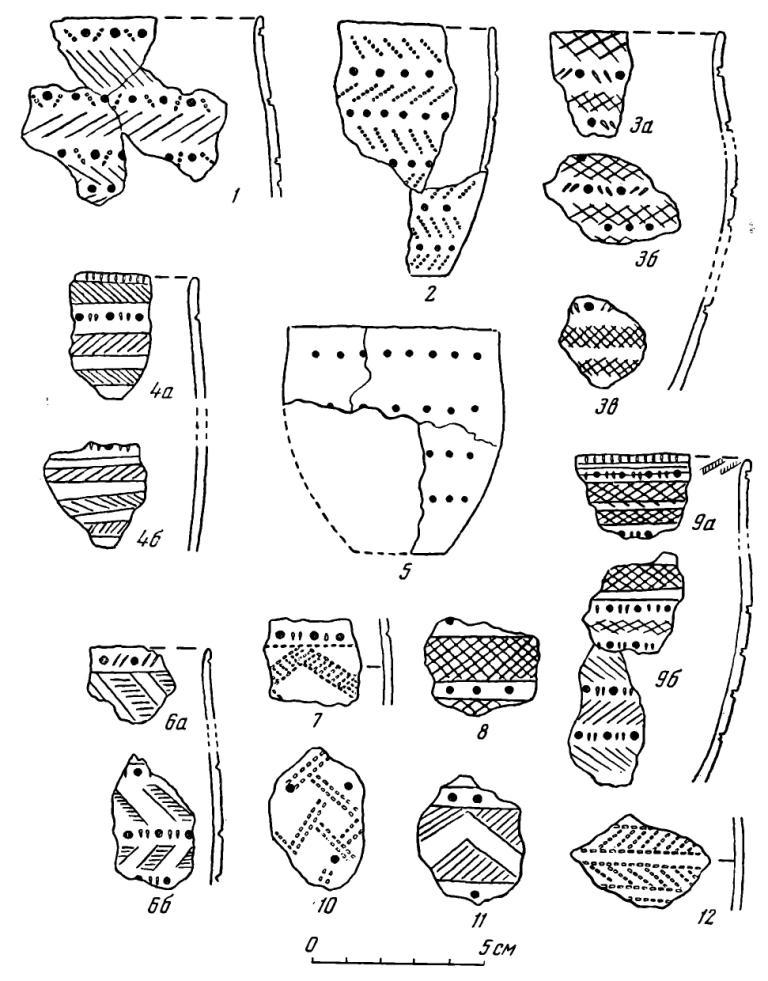 Рис. 27. Керамика Десятовского поселения. 1—12 — первая группа