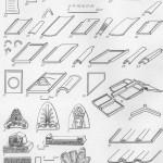 Таблица LXXXVII. Основные виды керамических строительных деталей IV—II вв. до н. э. 1 — терракотовая плитка для украшения симы; 2 — фронтальная черепица; 3, в, 7 — антефиксы; 4 — антефикс с головой Гелиоса; 5 — щиток фронтальной черепицы системы кровельных покрытий; 8 — коринфская; .9 — лаконская; 10 — сицилийская; 11, 12 — черепицы с кровельным окном; 13 — продольный коньковый калиптер; 14 — трапециевидная черепица; 15 — кровельное покрытие коринфского типа; 16 — поперечный коньковый калиптер; 17, 19 — граненый калиптер; 18 — овальный калиптер; 20, 21, 23 — солены; 22 — овальный калиптер; 24, 25 — овальный и граненый калипте-ры. Керамические материалы первых веков нашей эры. 26, 28. 29, 31, 32 — солены; 27, 30, 33, 34 овальные калипте ры; 35 — труба для воздушного отопления; 36, 37 водопроводные трубы; 38, 39, 40 — обожженный кирпич 1, 4, 21, 22, 29, 30 — Херсонес; 2, 5, 12, 13, 16, 23—25, 31, 32, 34 — Ольвия; 3, 6, 7, 14, 17—20, 26—28, 33 — Боспор; 35 -Харакс. Составитель С. Д. Крыжицкий