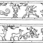 Рис. 2а. Прорисовка изображений на диадеме из погребения на р. Карагалинке.