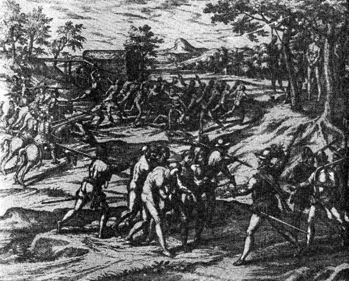 Избиение индейцев. Гравюра XVI в.