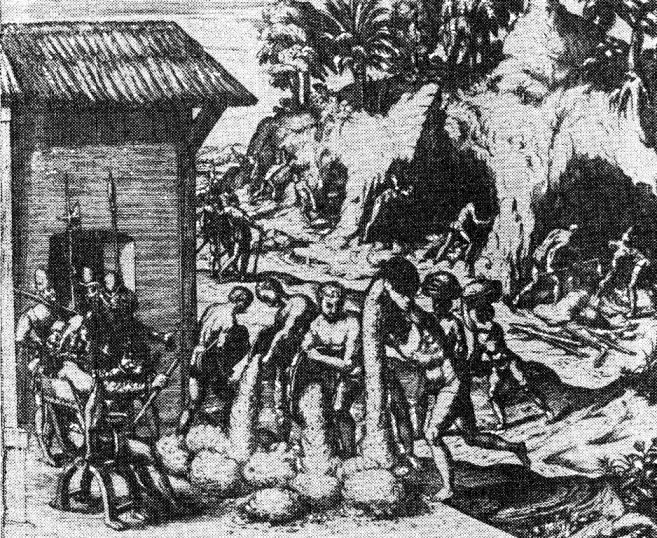 Работа индейцев на рудниках. Гравюра XVI в