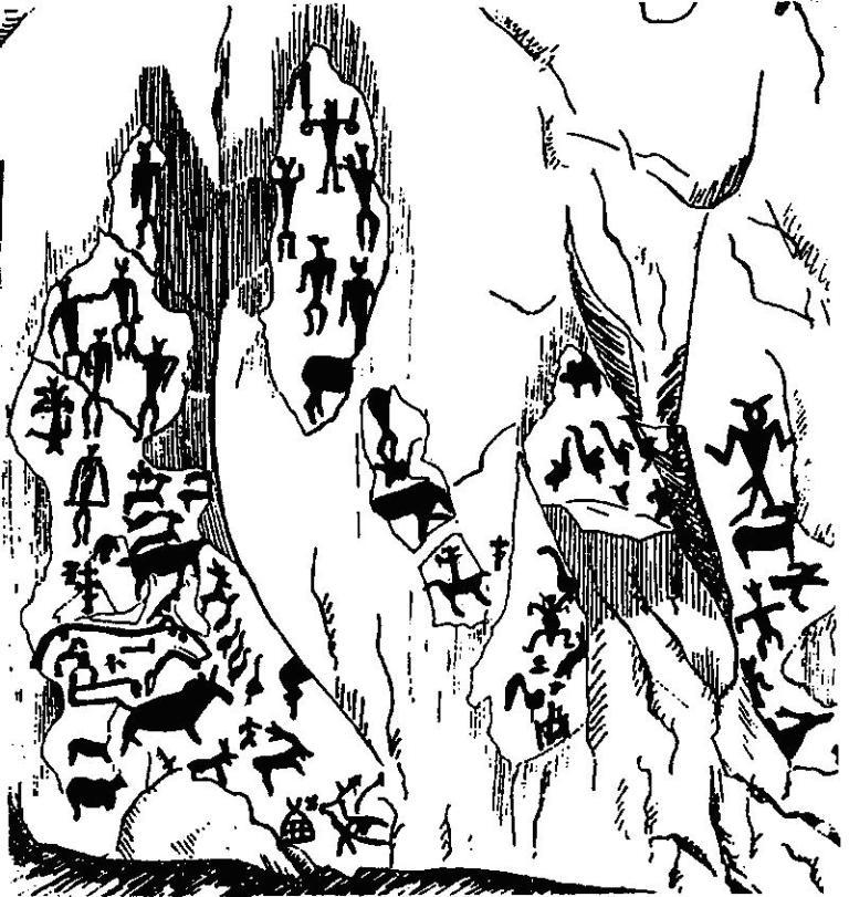 Рис. 44. Схема расположения рисунков на скале в бухте Саган-Заба, оз. Байкал