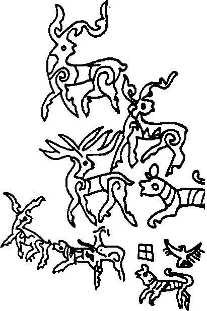 Рис. 49. Фрагмент сцены преследования оленей хищниками, северо- западный Тибет