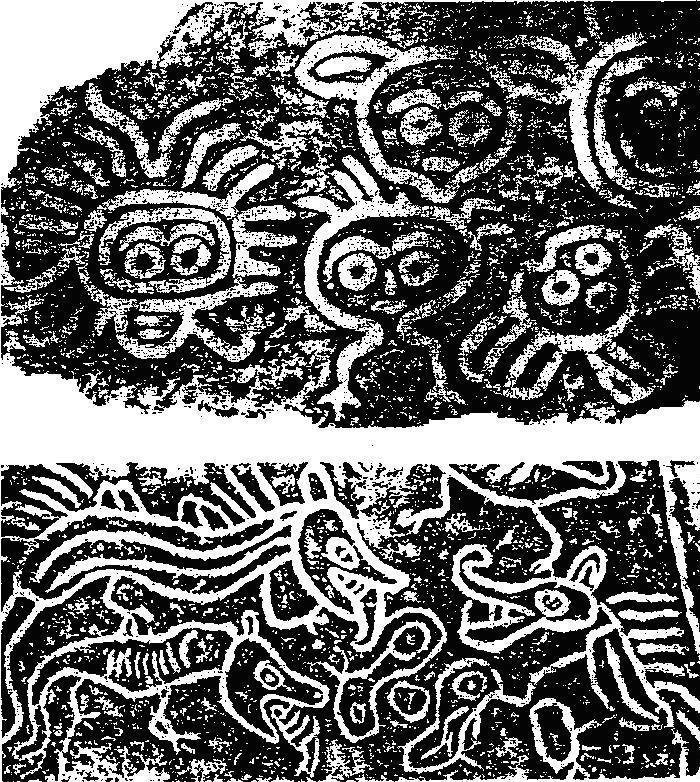 Рис. 40. Копии наскальных изображений: Куллет Бей и Нанаимо, Британская Колумбия