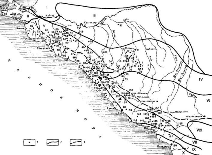Рис. 2. Картосхема распространения дольменов и простирания основных горных пород на Западном Кавказе Условные обовначения: 1 — пункты дольиенных местонахождений; 2 — отдельные области распространения горных пород и отложений (I — ил в дельте р. Кубани, II — известняки, морские отложения, Тамань, III — флювио-гляциальные и аллювиальные равнины, IV — известково-карстовая область, V — флиши—песчаники, VI — кристаллическое высокогорье, VII — известково-карстовая область, VIII — сланцево-песчаниковые поднятия, IX — известняки предгорий, X — флювио-гляциальные и аллювиальные равнины — по И. С. Щукину); 3 — Главный Кавказский хребет. Дольменные местонахождения см. на рис. 1