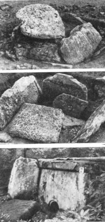 Рис. 4. Дольмены плиточного типа. Западный Кавказ 1 — бассейн р. Кизинки. Дольмен без отверстия, №215; 2 — тот же дольмен со снятым перекрытием и откинутой боковой плитой; 3 — с. Адигналово, дольмен с приставными портальными плитами, №7