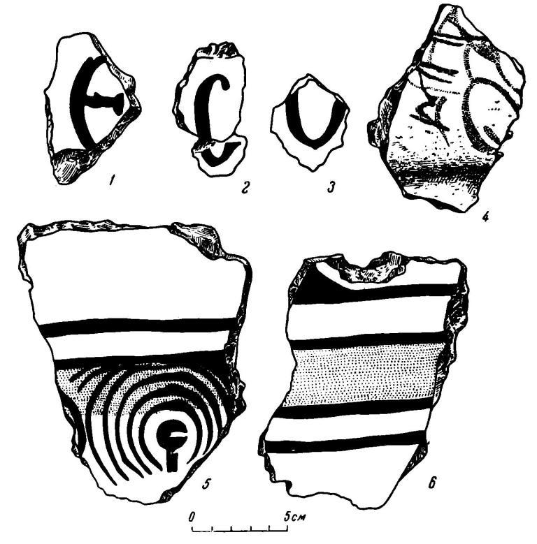 Рис. 41. Фрески из постройки 12. 1—3 — древнерусские буквы; 4—6 — геометрический и стилизованный растительный орнамент