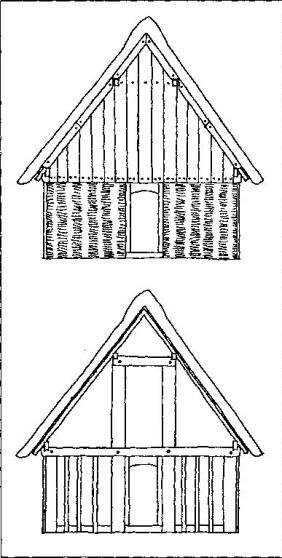 Рис. 56. Дом эпохи викингов: вверху — вид снаружи; внизу — вид изнутри (реконструкция Б. Альмгрена)