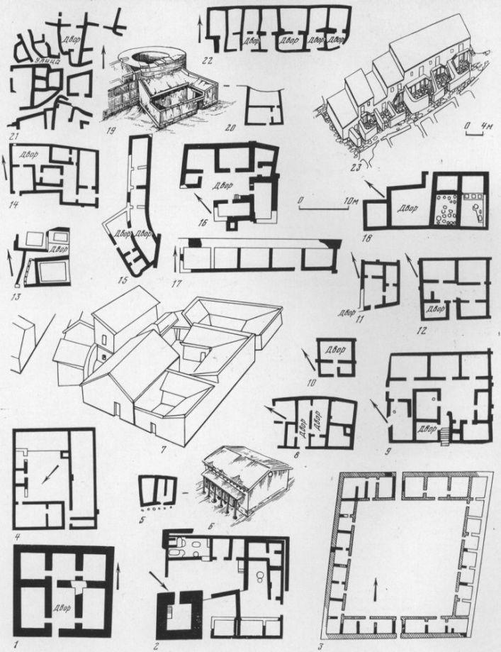 Таблица LXXXIX. Укрепленный дом башенного типа 1 — дом III в. до н. э. на Семибратнем городище. Сельские дома эллинистического времени: 2 — дом херсонесского клера № 26 III—II вв. до н. э.; 3— усадьба конца IV — первой половины III в. до н. э. у Дидовой Хаты; 4 — дом херсонесского клера № 3 IV—II вв. до н. э.; 5, 6 — дом № 1 IV в. до н. э. на Южно-Чурубашском поселении (план, реконструкция). Городские дома первых веков нашей эры: 7 — реконструкция квартала жилых домов 11—первой половины III в. н. э. на поселении у с. Козырка; 5 — дом 11—111 вв. н. э. на раскопе А в Тире; 9, 10, 12 — дома середины I—III в. н. э. № 3, 5 на участке I и № 6 на участке III в Илурате; И — дом № 2 в Козырке; 13 — дом II—III вв. н. э. с портиком на раскопе II в Танаисе; 14 — дома № 3 и 4 в Козырке; 15 — дом № 5 в Козырке; 16 — дом III—IV вв. н. э. с хозяйственными постройками, Тиритака; 17 — блок домов конца I—III вв. н. э. у оборонительной стены Нижнего города Ольвии; 18 — дом винодела II—IV вв. н. э. в Херсонесе; 19, 20 — дом конца III — середины IV в. н. э. в Тиро (реконструкция, план). Дома смешанной традиции: 21 —дома II—I вв. до н. э. в Танаисе на участке VI; 22, 23 —дома II—III вв. н. э. на поселении у дер. Семеновки (реконструкция). Составитель С. Д. Крыжицкий