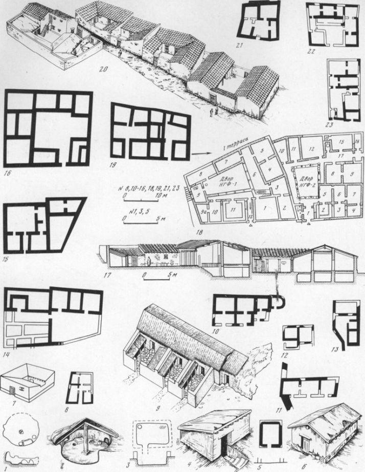 Таблица LXXXVIII. Городские жилые дома VI—II вв. до н. э. 1, 2 — полуземлянки| Ольвии второй половины VI в. до н. э. (плап, разрез, реконструкция); 3, 4 — обобщенный тип полуземлянки (план, разрез, реконструкция); 5, 6 — дом начала VI в. до н. э. в Пантикапее (план, разрез, реконструкция); 7,8 — дом первой половины V в. до н. о. на Березани (реконструкция, план); 9, 10 — блок домов YI — начала IV в. до н. э. в Киммерике (реконструкция, план); 11 — план дома второй половины VI в. до н. э. в Тиритаке; 12 — план дома конца VI — начала V в. до н. э. в Пантикапее; 13 — план дома 14 конца VI — начала V в. до н. э. в Пантикапее; 14 — дом винодела в Мирмекии; 15— дом красильщика в Херсонесе; 16 — дом с экседрой в Херсонесе; 17, 18 — дома в Ния:-нем городе в Ольвии № 1, 2 (план, реконструкция); 19 — квартал XIII в Херсонесе; 20 — квартал жилых домов у северной оборонительной стены Верхнего города Ольвии (ре конструкция); 21 — дом П-1 в Ольвии; 22 — дом Е-1 в Ольвии; 23 — дом А-3 в Ольвии. Составитель С. Д. Крыжицкий
