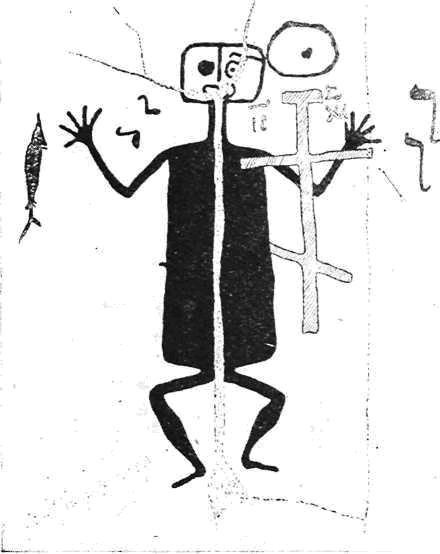 Крест XIV—XV вв., выбитый поверх неолитических наскальных изображений в урочище Бесовнос в Карелии (по В. И. Равдоникасу)