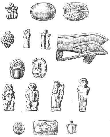 Рис. 2. Египетские амулеты из Керчи (собрание Гос. Эрмитажа)