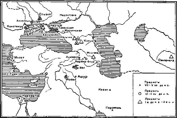 Рис. 3. Карта распространения находок египетских древностей на территории СССР