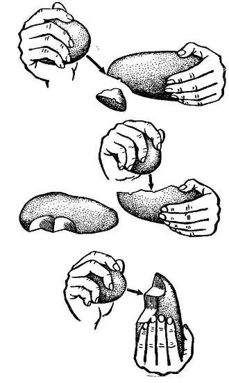 Изготовление орудий труда из гальки