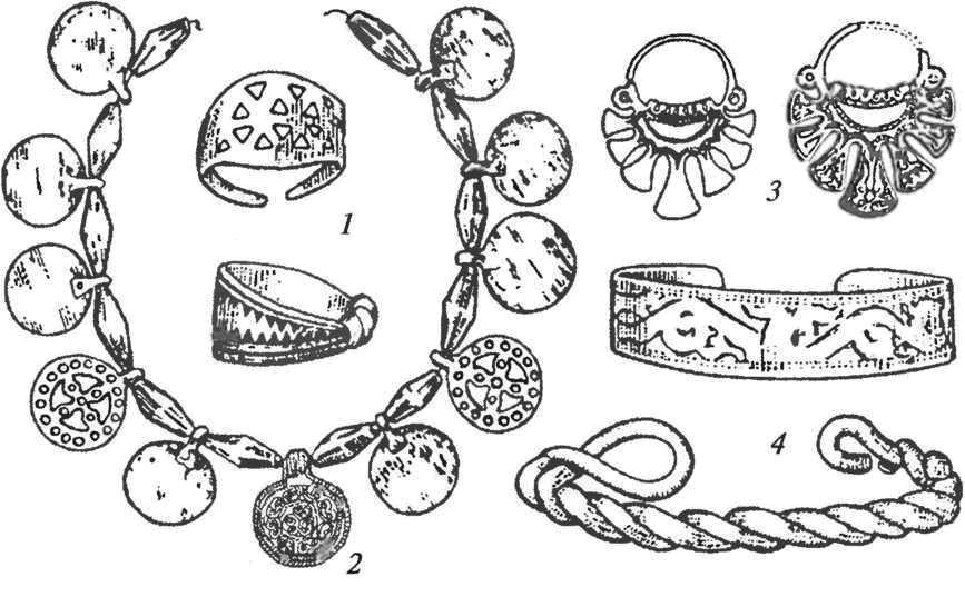Сельские курганы. Инвентарь женского вятического погребения: 1 — перстни; 2 — ожерелье из сердоликовых бус и металлических привесок; 3 — кольца височные семилопастные; 4 — браслеты (пластинчатый и витой)