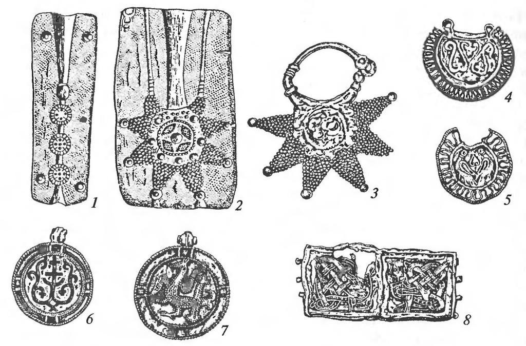 Ювелирные изделия. Имитации княжеско-боярского убора: 1,2 — литейные формы; 3-5 — колты; 6, 7 — бармы; 8 — наручень