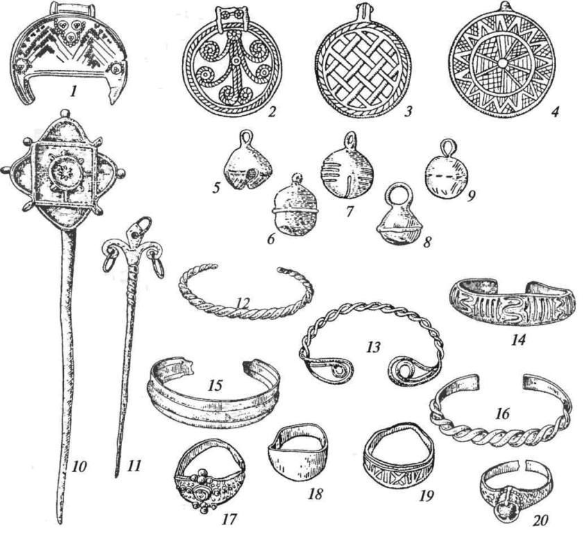 Массовые изделия ювелиров: 1 — лунница; 2-4 — привески; 5-9— бубенчики; 10, 11 — булавки; 12-16— браслеты; 17-20— перстни