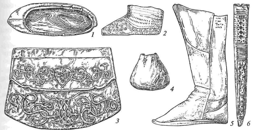 Кожаные изделия: 1 — поршень; 2 — туфля ажурная; 3 — сумка; 4 — кошелек; 5 — сапог; 6 — ножны кинжала