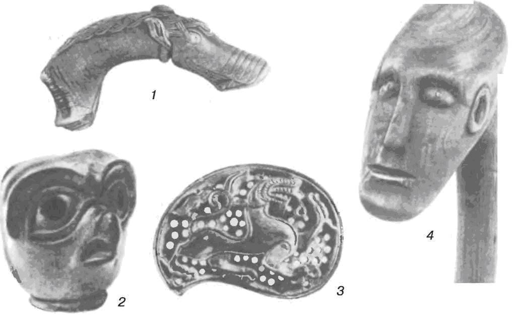 Резные изделия: 1 — рукоятка ковша; 2, 4 — навершия посохов; 3 — накладная пластина (1, 2, 3 — кость)