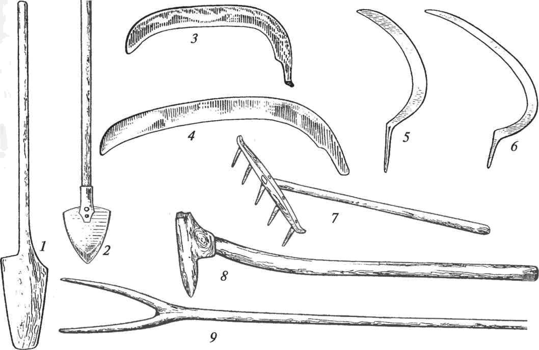 Ручные земледельческие орудия: 1 — лопата цельнодеревянная; 2 — лопата с железной лопастью; 3 — коса северного типа; 4 — коса южного типа; 5 — серп северного типа; 6 — серп южного типа; 7 — грабли; 8 — мотыга; 9 — вилы