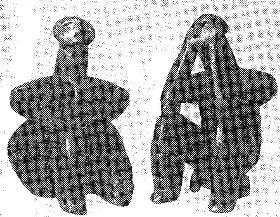 Неолитические глиняные фигурки женщины и мужчины 4 тысячелетия до н. э. Румыния