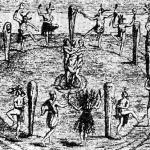 Эпизод церемонии обеспечения урожая у северо-восточных индейцев. Старинная гравюра