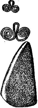 Рис. 49. Медные украшения и топор треугольной формы Иордансмюль. По Зегеру.