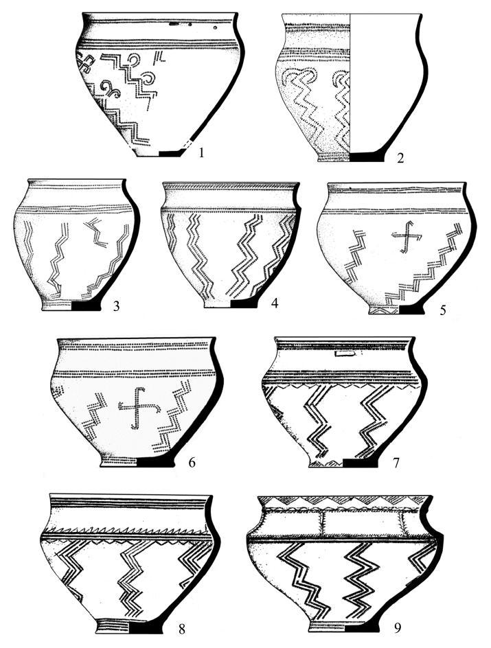 Таблица 6. Орнаментальный образ «козла-однонога». 1, 3-9 - Синташтинский могильник; 2 - могильник Бестамак (по: Генингу, Здановичу, Логвину, Шевниной)