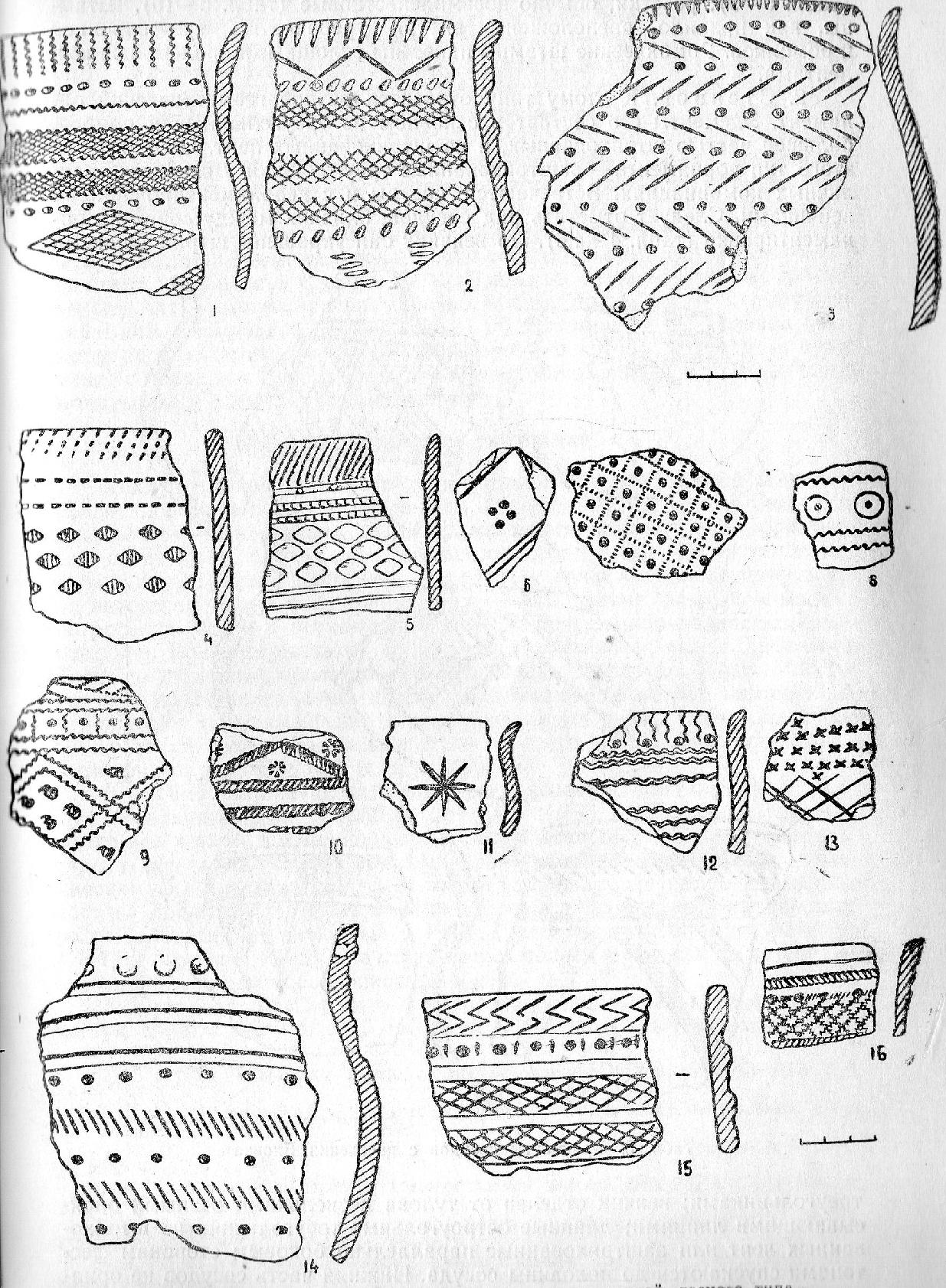 Табл. 5, Керамика Еловского поселения с орнаментацией лесного типа