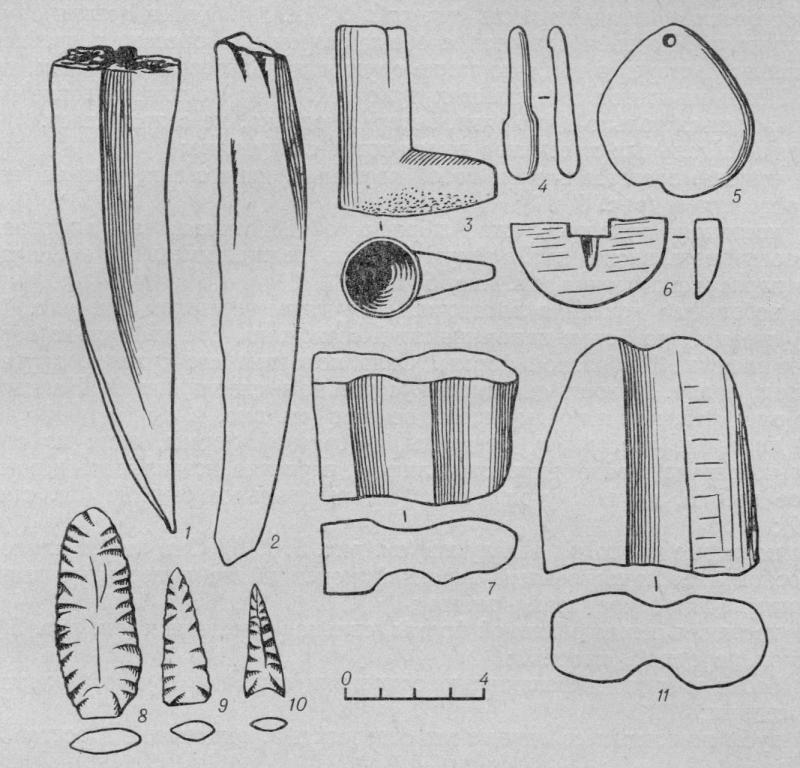Рис. 4. Костяные и каменные предметы.