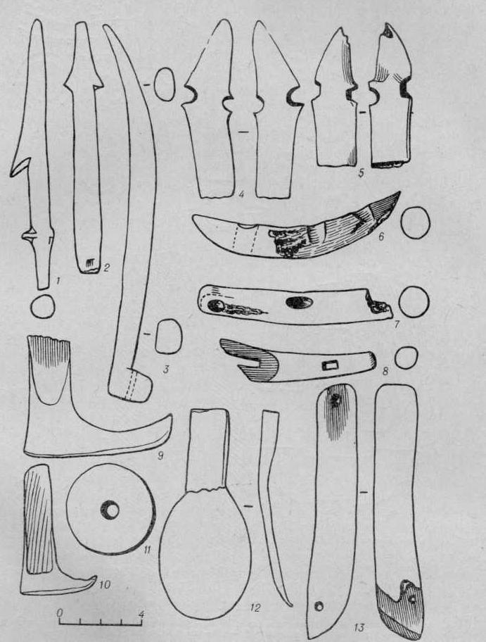 Рис. 5. Костяные изделия. Бронзовый нож.
