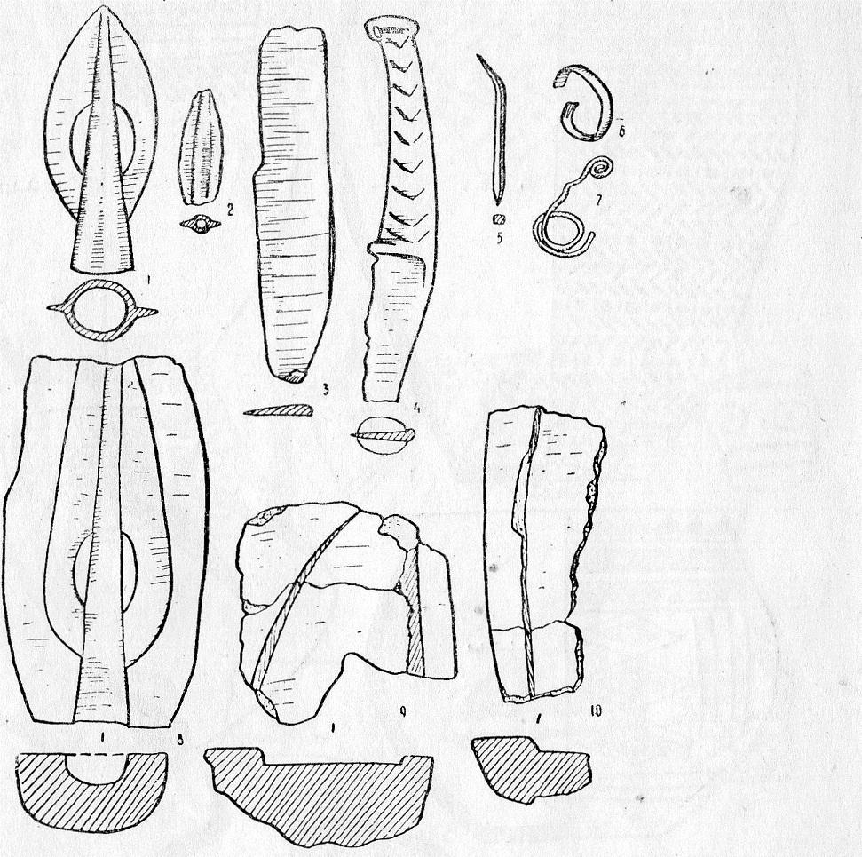 Табл. 3. Бронзовые предметы и обломки литейных форм с Еловского поселения