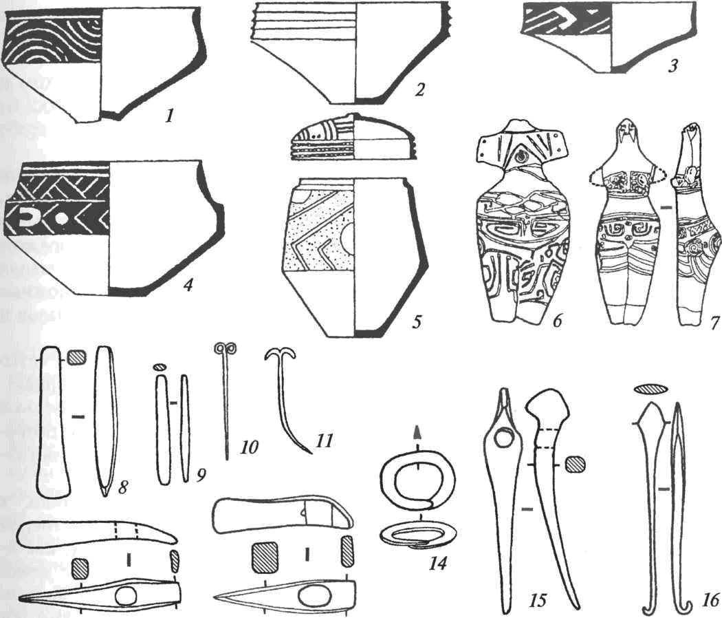 Инвентарь гумельницкой культуры: 1-5 — керамика (темными зонами на поверхности посуды показана роспись графитом); 6-7 — глиняные статуэтки; медные изделия гумельницкого металлургического очага: 8-9 — тесла-долота; 10- 11 — булавки; 12-13 — топоры-молотки; 14— браслет; 15 — клевец; 16— наконечник копья